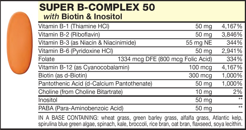 The Orange Tablet in the Vitamin Packet contains B-COMPLEX with Biotin & Inositol, Vitamins B-1, B-2, B-3, B=6, Fulate, Vitamin B-12 (as Cyanocobalamin), PABA (Para-Aminobenzoic Acid), Biotin, Choline Bitartrate, Inositol