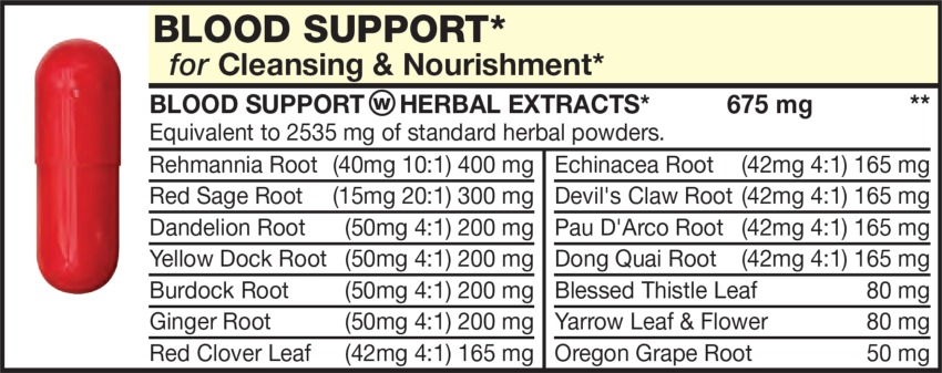 The Light Red capsule in the Vitamin Packet contains Blood Cleansing & Nourishment Herbs including Dandelion Root, Yellow Dock Root, Burdock Root, Ginger Root, Red Clover Leaf, Rehmannia Root, Red Sage Root, Pau D'Arco Root, Dong Quai Root, Blessed Thistle Leaf, Yarrow Leaf & Flower, Oregon Grape Root, Echinacea Root, Devil's Claw Root