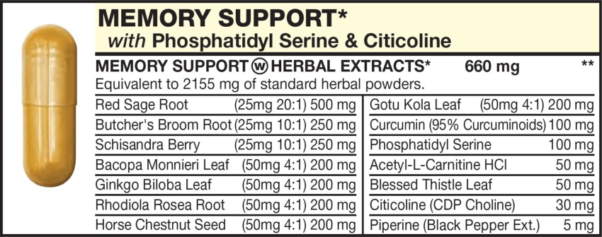 The Light Brown capsule in the Vitamin Packet contains MEMORY SUPPORT HERBAL EXTRACTS including Schisandra Berry, Bacopa Monnieri Leaf, Ginkgo Biloba Leaf, Rhodiola Rosea Root, Horse Chestnut Seed, Red Sage Root, Butcher's Broom Root, Acetyl-L-Carnitine HCl, Blessed Thistle Leaf, Citicoline (CDP Choline), Gotu Kola Leaf, Phosphatidyl Serine, Curcumin (95% Curcuminoids), Piperine (Black Pepper Ext.)