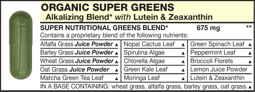 The Green Capsule in the Vitamin Packet contains ORGANIC SUPER GREENS Alkalizing Blend with Lutein, Zeaxanthin, Alfalfa Grass, Nopal Cactus Leaf, Green Spinach Leaf, Barley Grass Spirulina Algae, Peppermint Leaf, Wheat Grass, Chlorella Algae, Broccoli Florets, Oat Grass, Green Kale Leaf, Lemon Juice Powder